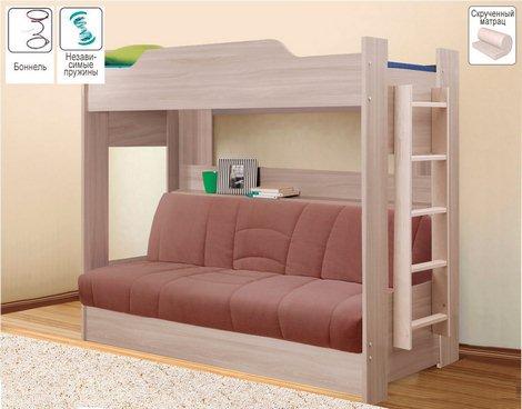 Детская двухъярусная кровать с диваном-кроватью