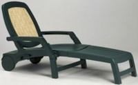 Лежак RIALTO (цвет зеленый с Rattan, складной) пластиковый