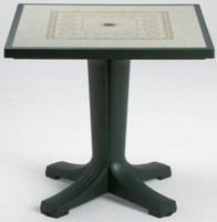 Стол из пластика GIOVE 80 (цвет зелёный с мозаикой Ravenna, квадратный)