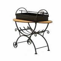 Мангал садовый с дровницей на колесах МСДК