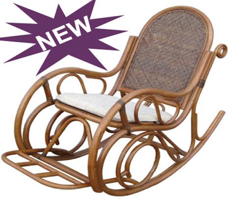 Кресло-качалка 05-10B из ротанга в цвете миндаль