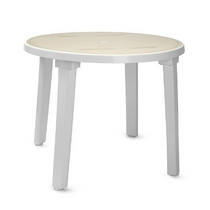 Стол круглый (диаметр 90 см) белый с рисунком, пластик