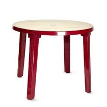 Стол из пластика круглый (диаметр 90 см) бордовый с рисунком