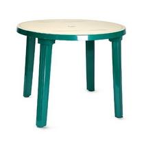 Стол из пластика круглый (диаметр 90 см) зеленый с рисунком