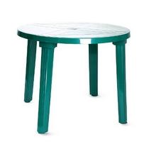 Стол из пластика круглый (диаметр 90 см) зеленый