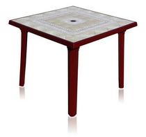 Стол квадратный 90 х 90 см (бордовый с рисунком, пластик)