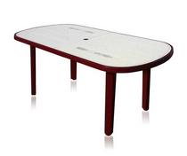 Стол из пластика овальный бордовый с рисунком