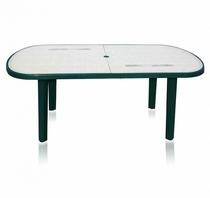 Стол из пластика овальный зеленый с рисунком