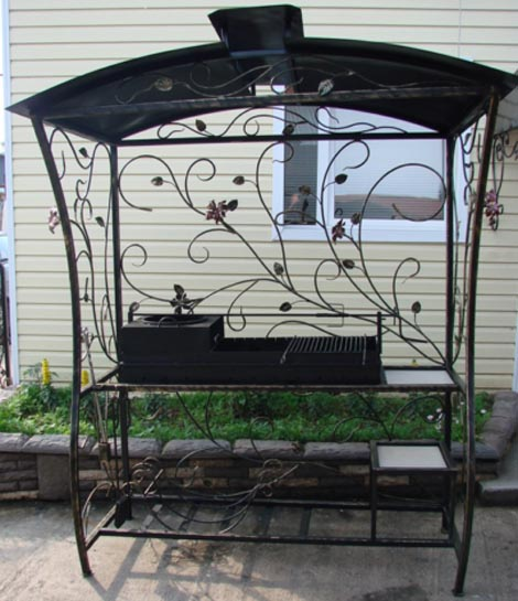 Мангал для дачи кованый с крышей «Цветы ажурные» - купить дешево в ZD43
